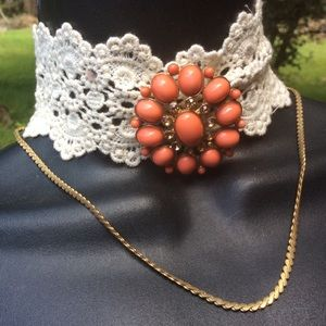 """Vintage GOTH Style 2"""" Lace Choker Necklace Brooch"""